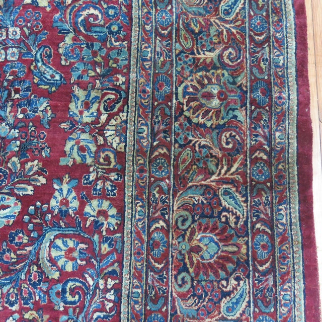 """Antique Red & Blue Persian Sarouk Rug - 10'4"""" x 20'6"""" For Sale In New York - Image 6 of 8"""