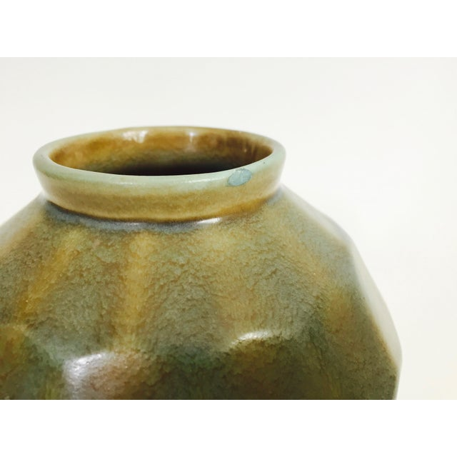 Vintage Faceted Pottery Vase For Sale - Image 4 of 6
