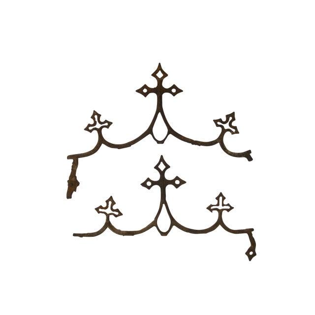 French Fleur de Lys Iron Elements - A Pair For Sale