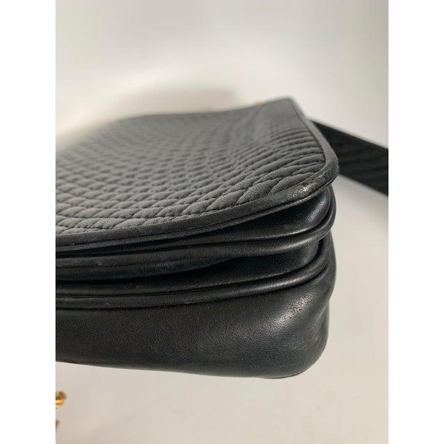 Vintage Bally Handbag Quilted Black Lamb Skin Leather For Sale - Image 9 of 13