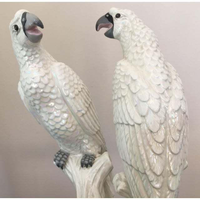 Mid-Century Italian Parrots with a White Iridescent Glaze - A Pair For Sale - Image 4 of 10