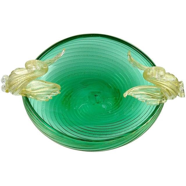 Beautiful Venetian style Murano hand blown green and gold flecks Italian art glass swans bowl. Documented to the Seguso...