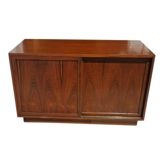 1960s Mid Century Modern Harvey Probber Diminutive Rosewood Sliding Door Cabinet For Sale