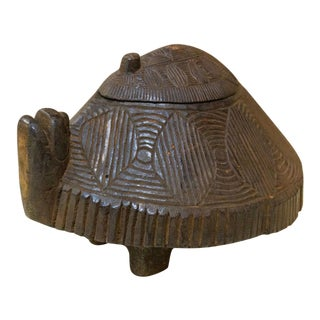 Primitive Carved Turtle Box For Sale