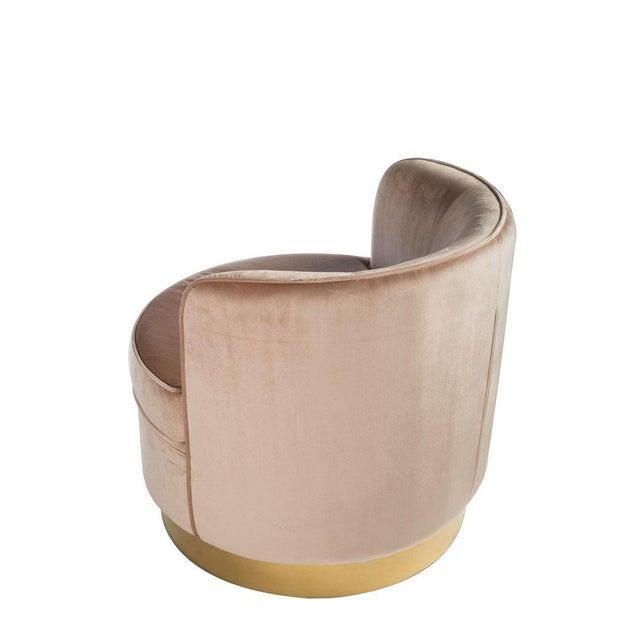 Hollywood Regency Hollywood Regency Style Brass Base Velvet Tube Chair For Sale - Image 3 of 5
