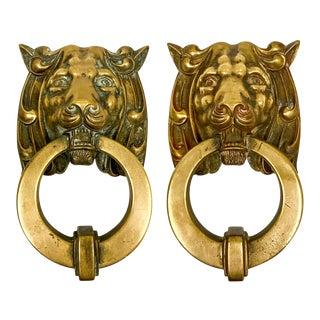 Pair of Heavy Cast Brass Lion Doorknockers For Sale