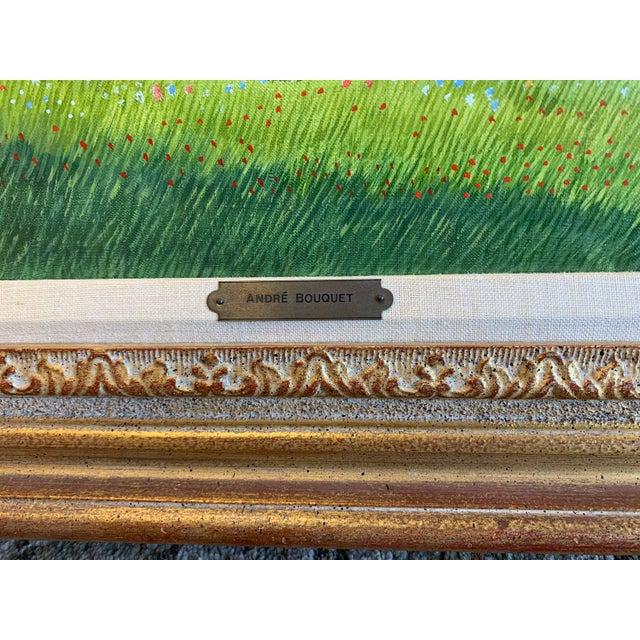 """Canvas 1970s Andre Bouquet Painting """"Village De l'Ite Au France"""" For Sale - Image 7 of 11"""