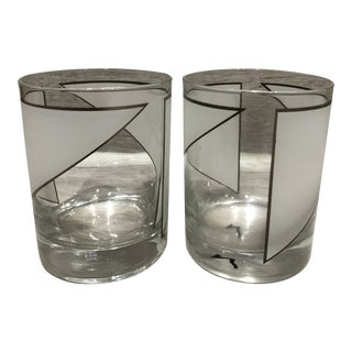 1970s Mid-Century Modern Geometric Drinking Glasses - a Pair For Sale