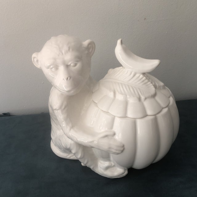 Darling white bisque porcelain covered jar from Italy. This charismatic little guy is hanging on to a gourd that opens to...