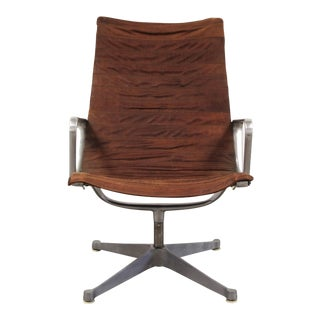 1960s Vintage Distressed Leather Eames Aluminum Group Lounge Chair For Sale