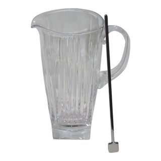 Waterford Pitcher Cut Crystal With Silver Plated Drinks Stirrer For Sale