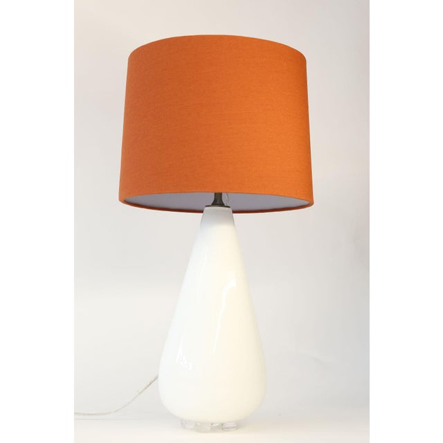 Glass White Glass Table Lamp For Sale - Image 7 of 10