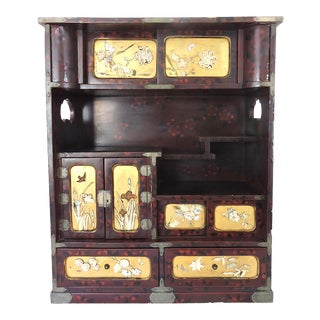 Antique Japanese Inlaid Tea Display Cabinet / Kodansu (Meiji) Cha Tansu For Sale