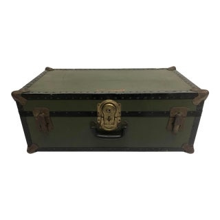 Vintage Industrial Military Drab Green Foot Locker Trunk For Sale