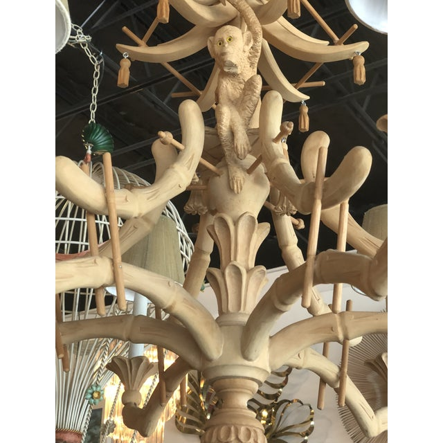 Asian Vintage Chinoiserie Tropical Palm Beach Carved Wood Pagoda Monkey Tassels Bells Chandelier For Sale - Image 3 of 11