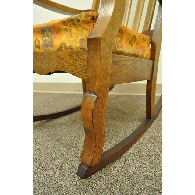 Antique Mission Arts & Crafts Carved Solid Oak Rocking Lounge Chair Rocker Vintage For Sale - Image 5 of 11