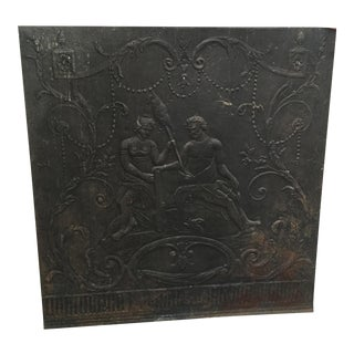 Cast Iron Decorative Fireback For Sale