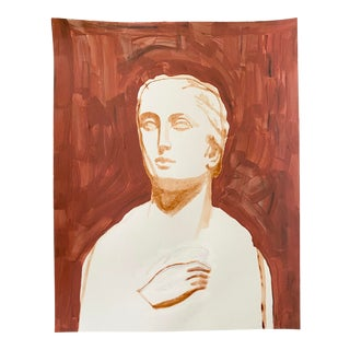 Ancient Roman Woman Sculpture Painting, Acrylic on Paper For Sale