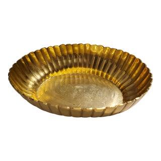Vintage Hammered Brass Bowl For Sale