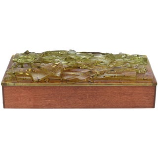 1950s Mid-Century Robert Brown Wood & Fused Art Glass Box For Sale