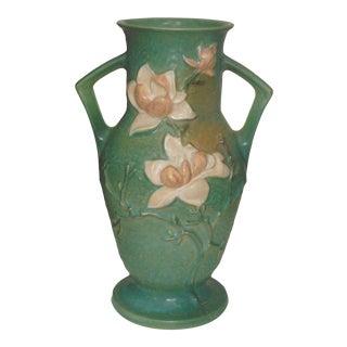 Antique 1930's Depression Era Roseville Magnolia Pattern Art Pottery Vase For Sale
