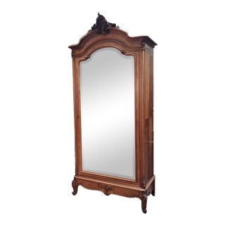 Hand Carved Walnut French Louis XV Style Single Door Robe C.1850 For Sale