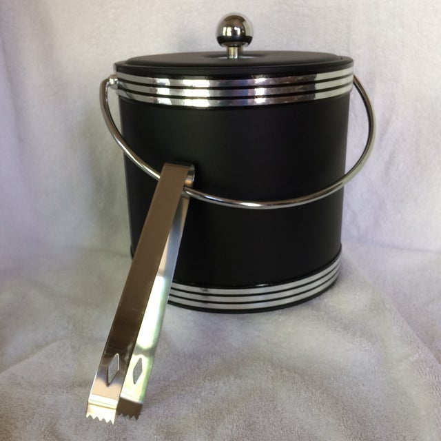 Kraftware Vintage Black and Chrome Kraftware Ice Bucket & Tongs in Original Box For Sale - Image 4 of 13