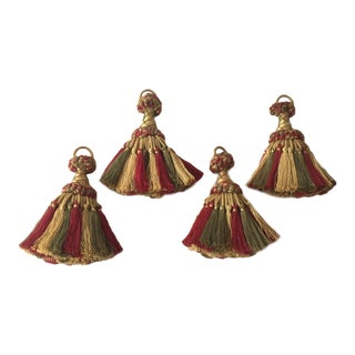 Large Key Tassels in Gold, Red & Green - Set of 4 For Sale