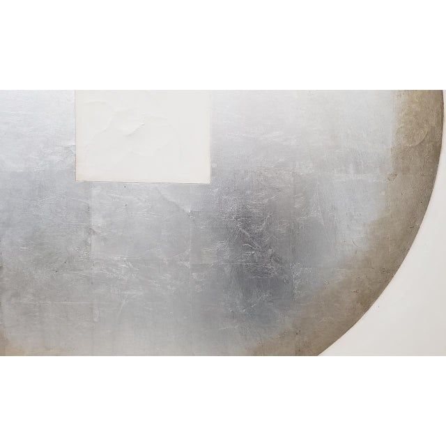Large Scale Abstract Silver & Gold Oil Painting by Johnson C.1970 For Sale In San Francisco - Image 6 of 12