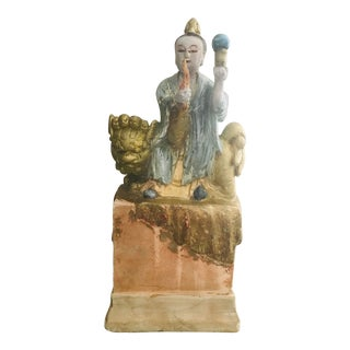 Ancient Chinese Cement Statue For Sale