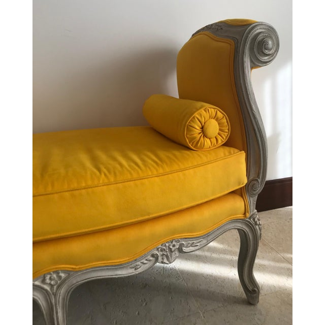 1900 - 1909 1900s Canary Yellow French Settee For Sale - Image 5 of 13