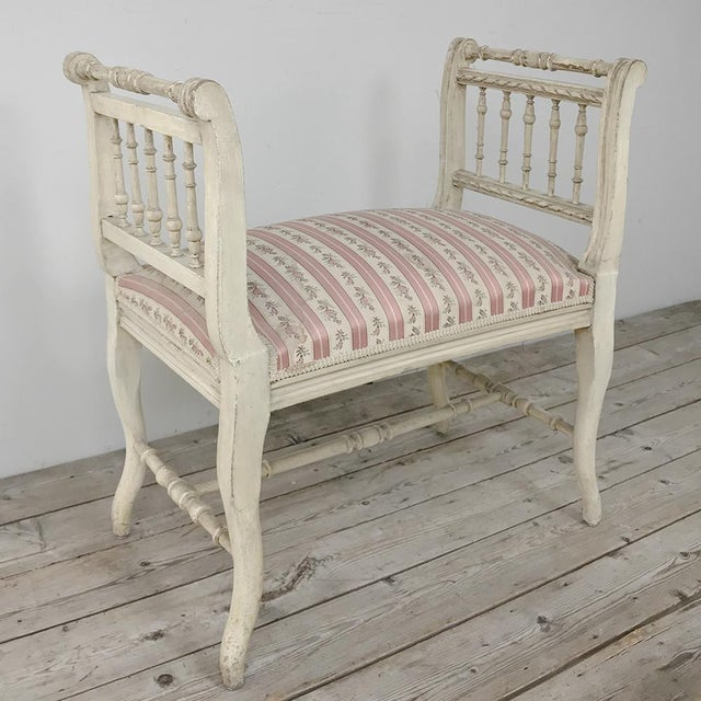 19th Century French Painted Louis XVI Armbench ~ Banquette For Sale - Image 4 of 12