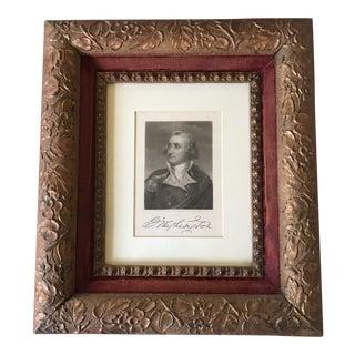 Framed 1891 Mezzotint of George Washington For Sale
