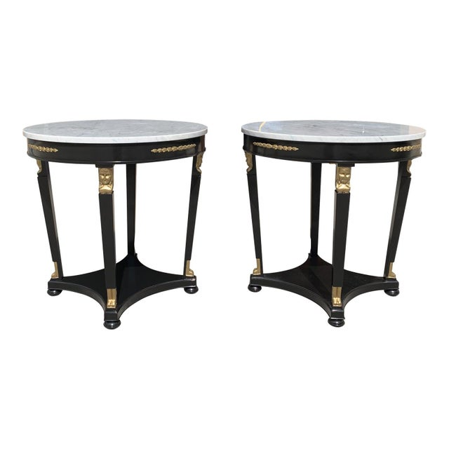 1910s Antique French Empire Marble Top Accent Tables or Gueridon Tables - a Pair For Sale - Image 13 of 13