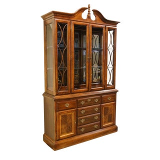 "American Drew Mahogany Chippendale Style Pediment Top 54"" Lighted China Cabinet For Sale"