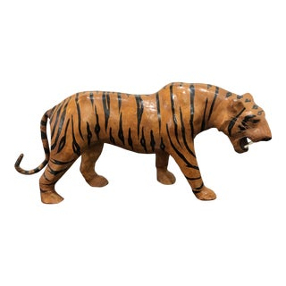 Vintage Leather Tiger Figurine For Sale