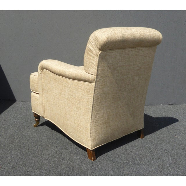 Fabric Restoration Hardware Style Beige Linen Blend Accent Chair & Ottoman For Sale - Image 7 of 11