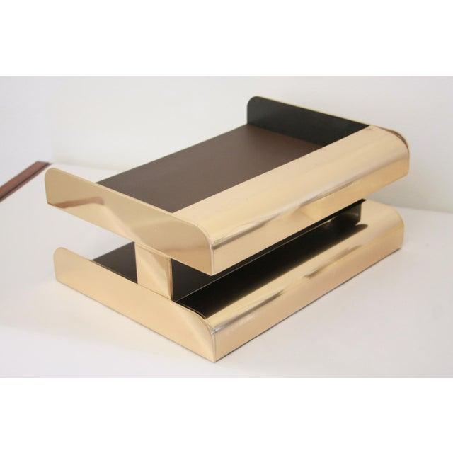 William Sklaroff Radius Two Brass Desk Tray For Sale - Image 4 of 11