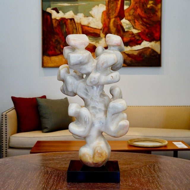 """Edward Meyrowitz Sculpture Abstract hand carved marble sculpture signed and dated © 1978 Price: 6200.00 Dimensions: H 26""""..."""