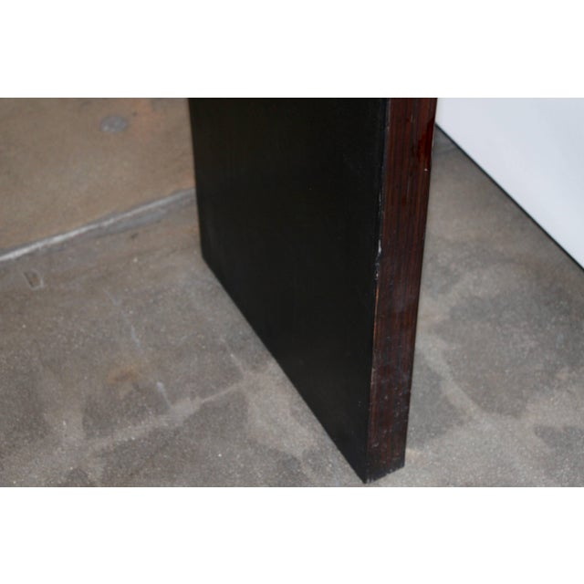 Mid 20th Century Bamboo Veneered Grained Brown Console For Sale - Image 5 of 10