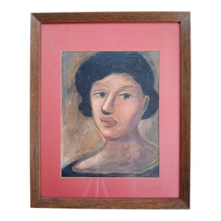 Mid 20th Century Portrait of a Woman Oil Painting, Framed For Sale