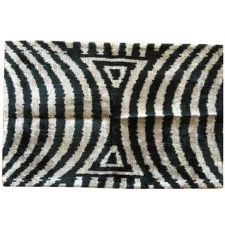 Graphite & Grey Silk Velvet Ikat Pillow