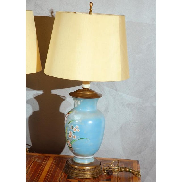 English Traditional Hand Decorated Glass Table Lamps - A Pair For Sale - Image 3 of 6