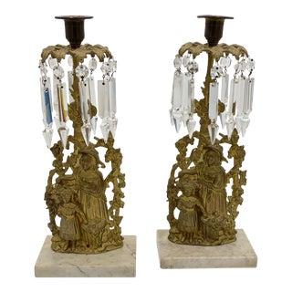Vintage Victorian Brass Girondoles Candlesticks - a Pair For Sale