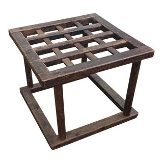 Late 19th Century Antique Chinese Wooden Lattice Table Base For Sale