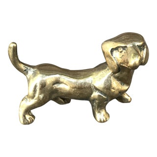 Small Vintage Solid Brass Dachshund Dog For Sale