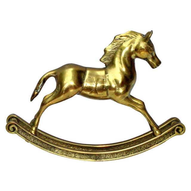 Hollywood Regency Mid-Century Brass Rocking Horse - Image 1 of 11