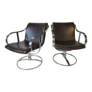 Steelcase Chrome and Leather Swivelling Lounge Chairs by Gardner Leaver