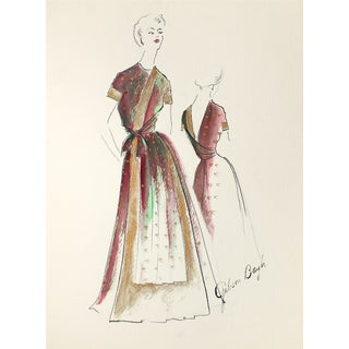 Indian-Inspired Evening Dress, 1950s Illustration For Sale