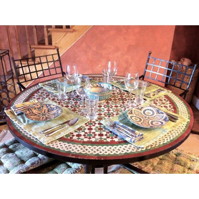 """Islamic Moroccan Zellij Red, Green, Yellow and White Mosaic Tile 52"""" Round Table & 4 Wrought Iron Arm Chairs For Sale - Image 3 of 13"""